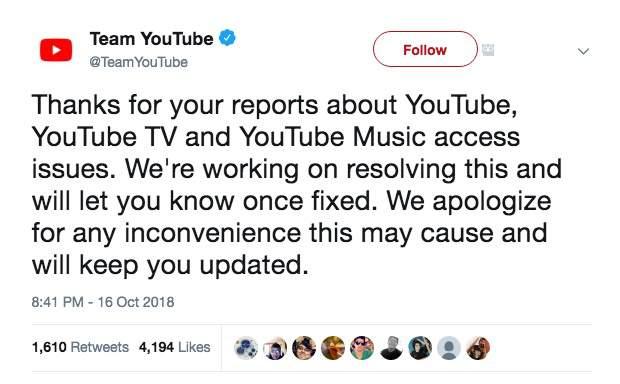 توقف موقع اليوتيوب عالمياً 2