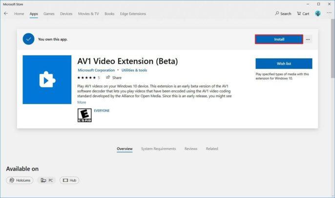 قم بتشغيل ترميز AV1 Codec على Windows 10 3