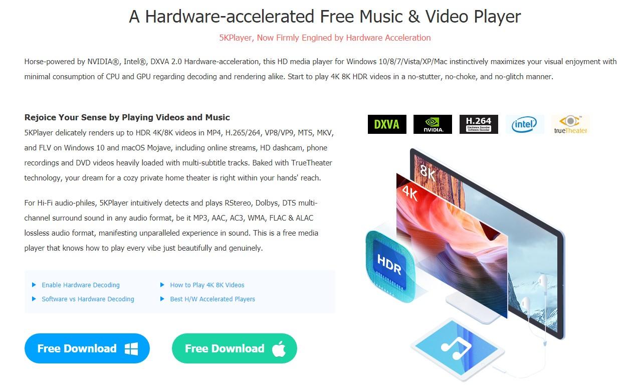 برنامج 5K player : أفضل برنامج مجاني لتشغيل الفيديو على ويندوز 10 و وماك 4