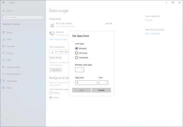 كيف تضع حداً لإستخدام الـ WIFI من خلال Windows 10 5