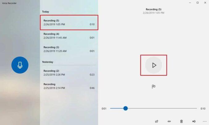 مسجل صوت Voice Recorder مجاني و خاص بنظام ويندوز Windows 10 مع الشرح 5