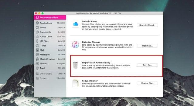 كيف توفر مساحة التخزين بطريقة سهلة في Mac OS 3