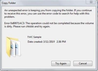 خطأ 0x80071AC3