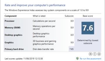 كيف تعرف تقييم Windows Experience الخاص بك على ويندوز 10 32