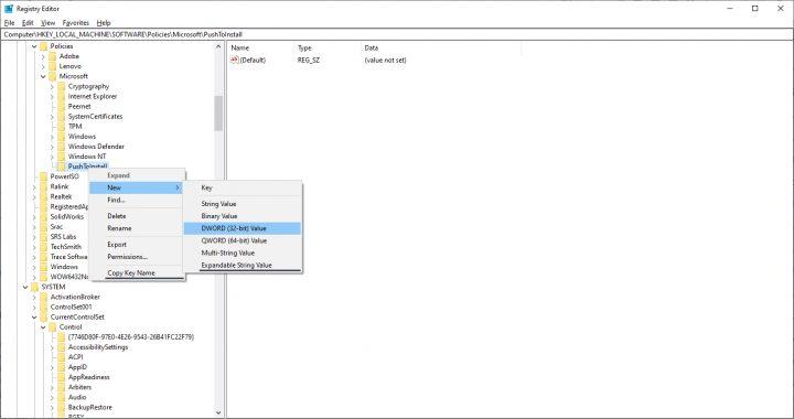كيف تلغي خاصية Push to install على Windows 10 7