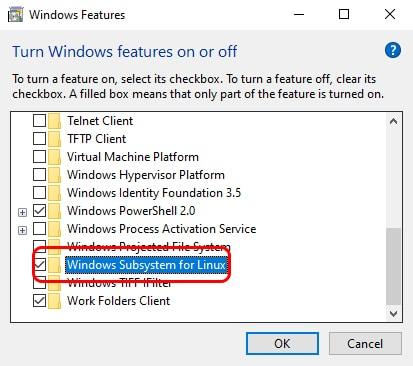 فعل Windows Subsystem for linux لتشغيل اوامر اوبنتو علي ويندوز 10 6