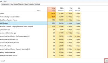 حل مشكلة ارتفاع استهلاك CPU بشدة على Windows 10 9