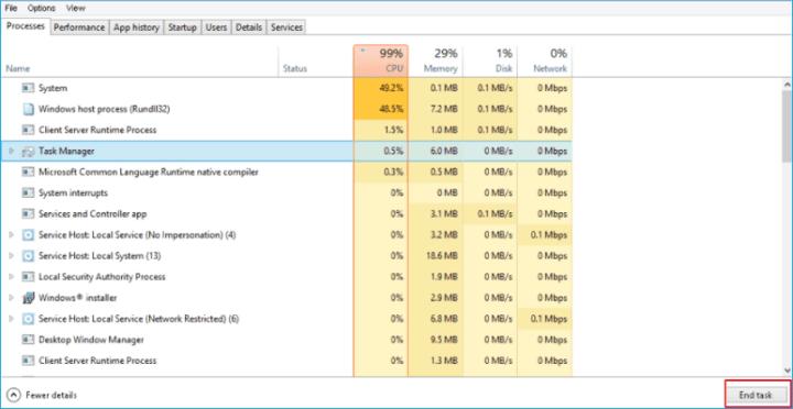 حل مشكلة ارتفاع استهلاك CPU بشدة على Windows 10 1