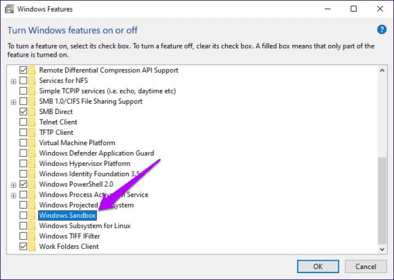 اعادة تفعيل Windows sandbox