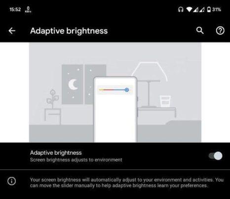 ميزة Adaptive Brightness على نظام الـAndroid
