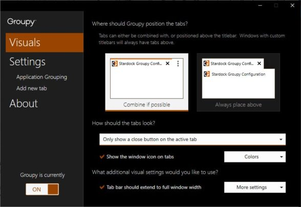Groupy هو تطبيق يتيح لك تجميع عدة نوافذ في تبويب واحد 2