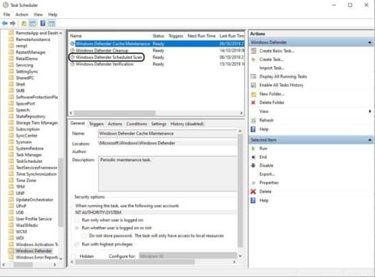 جدول مواعيد تشغيل Windows Defender على ويندوز 10 3