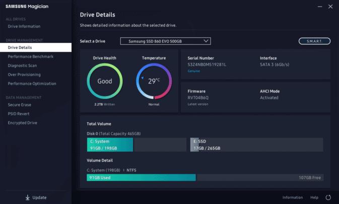 النسخة الجديدة من Samsung Magician تطبيق متابعة اداء و صحة الـSSD 5