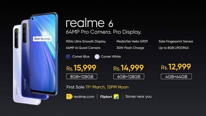 الإعلان عن ريلمي 6 Realme 6 بنسختيه 6