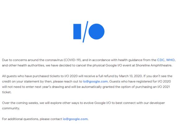 جوجل تقوم بإلغاء Google IO 2020 خوفاً من فيروس كورونا 2