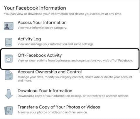 كيفية اغلاق تتبع فيس بوك لنشاطاتك على هاتفك 3