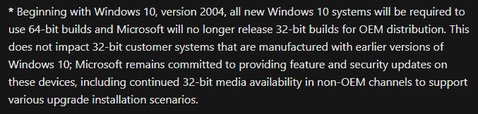 مايكروسوفت توقف ويندوز 10 بمعيارية 32Bit 1