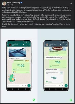 Whatsapp تتيح ارسال المال عبر التطبيق في البرازيل 1