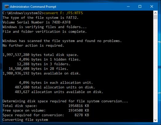 من FAT32 إلى NTFS