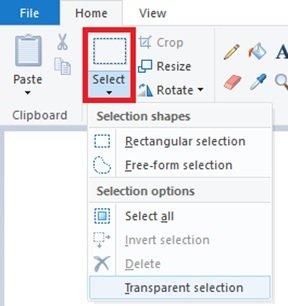 طريقة جعل الخلفية شفافة في برنامج الرسام على ويندوز 10 3