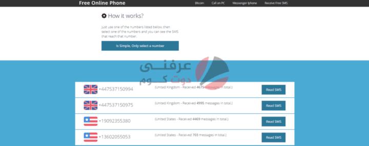 افضل 5 مواقع تعطيك رقم وهمي مجاني لإستقبال الرسائل SMS 3