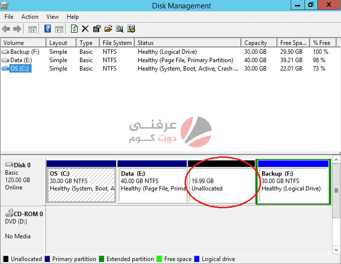 unallocated disk space