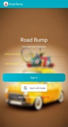 تطبيق معرفة الحفر والمطبات للاندرويد Road Bump 1