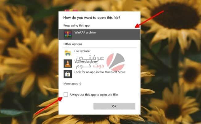 فتح ملفات Zip و إصلاح اقتران الملفات على نظام التشغيل Windows 10 3