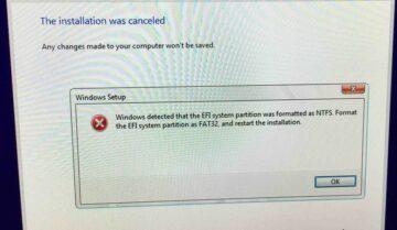 حل مشكلة Windows detected that the EFI system partition was formatted as NTFS